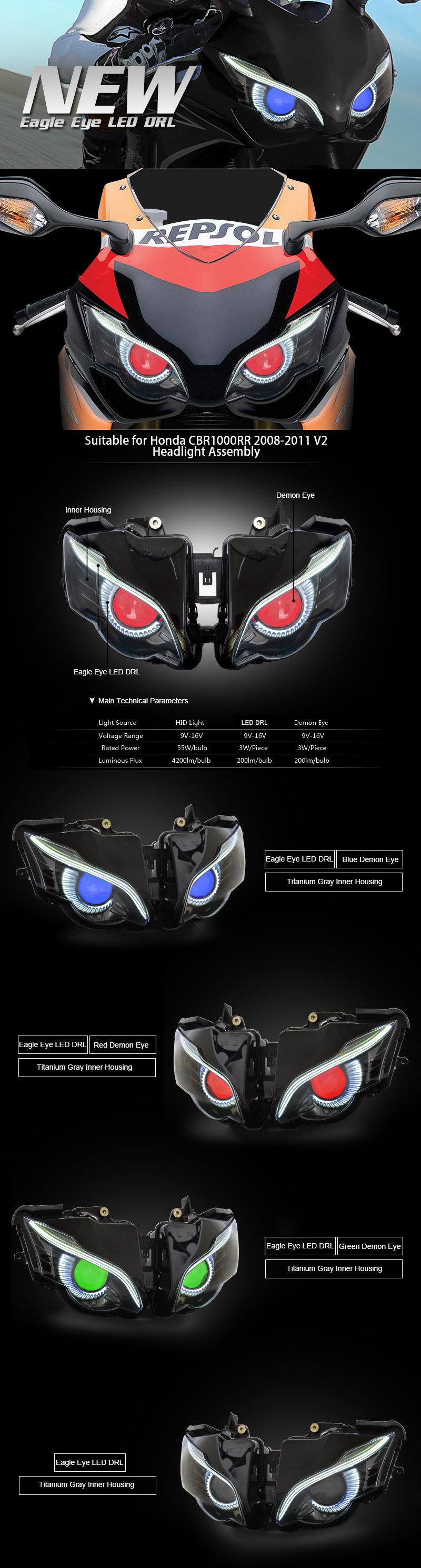 Honda CBR1000RR Headlight 2008 2009 2010 2011