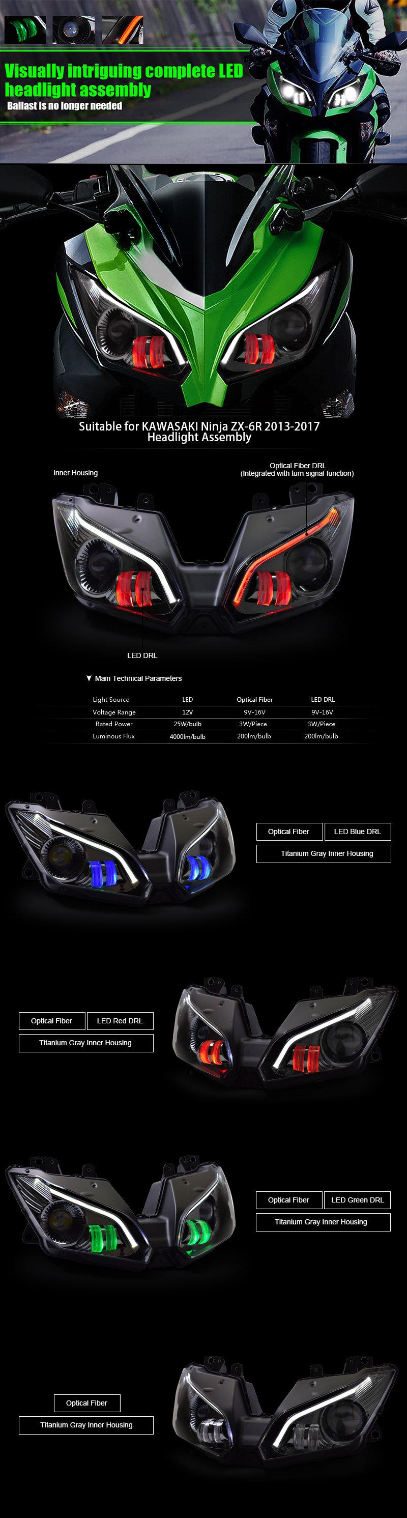 Kawasaki ZX6R Headlight 2013 2014 2015 2016 2017